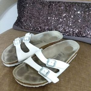 BIRKENSTOCK White Leather Sandal Shoe Size 9